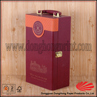 New style leather wine holder with loop straps,2 bottle wine suitcase,wine box