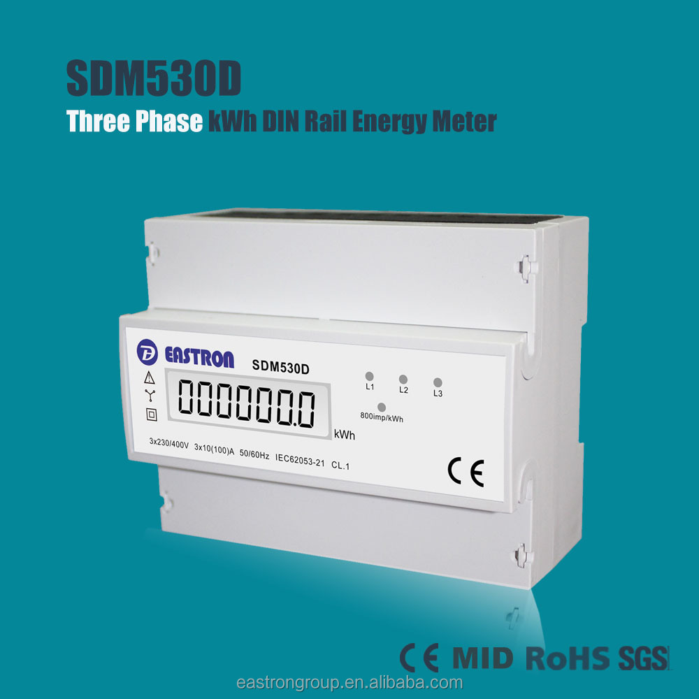 SDM530D Good Price 3 Phase DIN Rail Energy Meter, kWh Meter, Watt Meter 10~100A