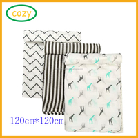 2017 Hot Sale 3 Pack Large 47 x 47 inch Muslin Swaddle Blankets Premium Organic Cotton Baby Swaddle Blankets
