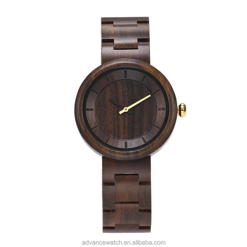 2017 SJ1628 hot sale fashion for <strong>men</strong> and women bamboo black sandalwood wood watch