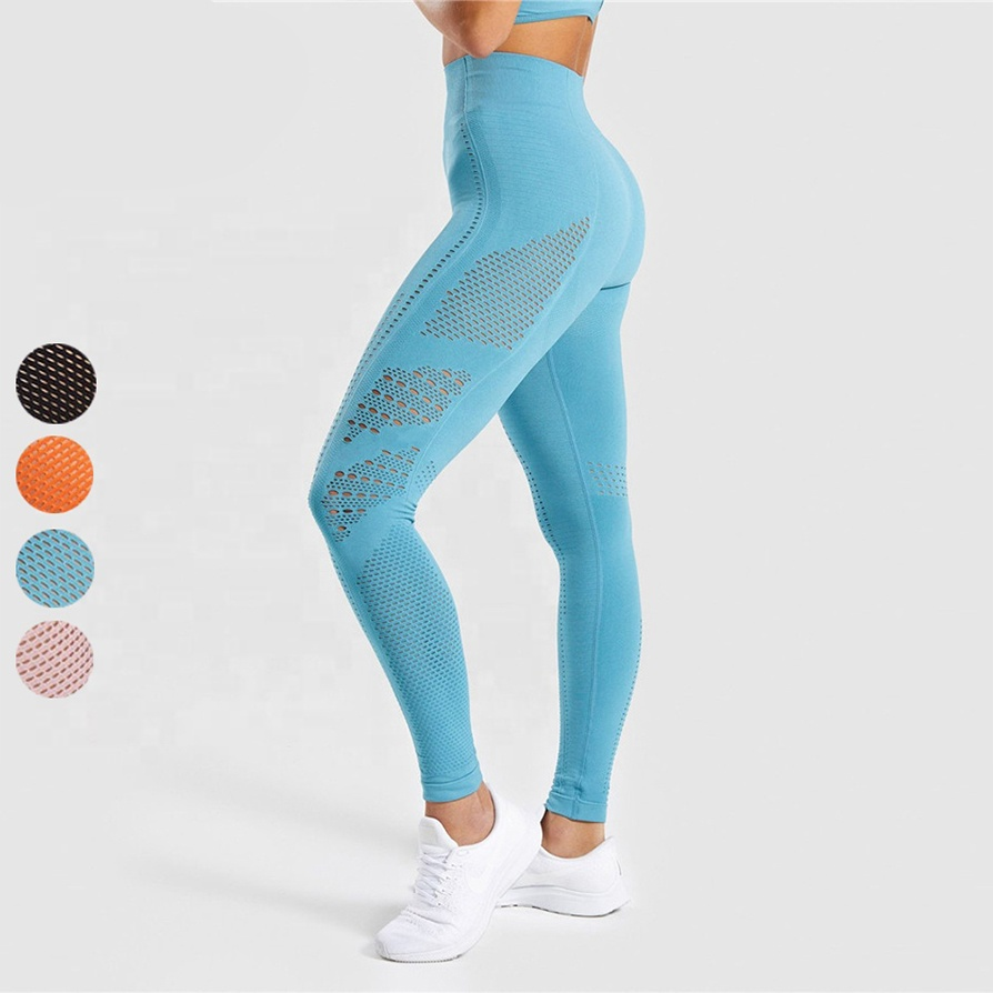 Hollow Out New Women Sexy Gym Yoga Leggings Seamless Pants
