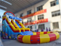 2015 New design Commercial Inflatable colourful water slide with big pool