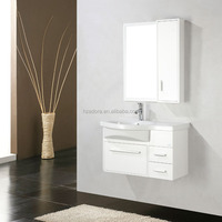 Ceramic basin pvc bathroom vanity mirror cabinet