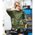 Autumn New Army Green Bomber Jacket Fashion Embroidery Coat