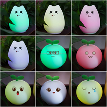 Most Popular Silica Gel Cat Shape Silicone Animal Led Night Light For Kids