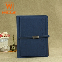 2018 Hot sell blue leather blank loose-leaf diary notebook