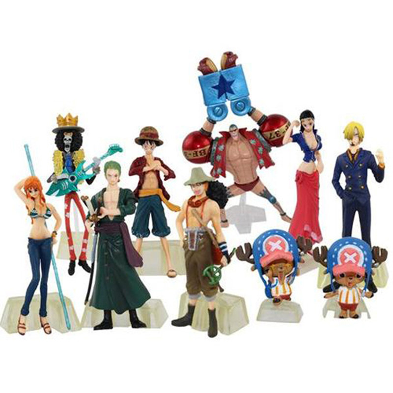 Japenese anime 10pcs One Piece POP New World Luffy Zoro Sanji Nami 12cm Toy Action figure
