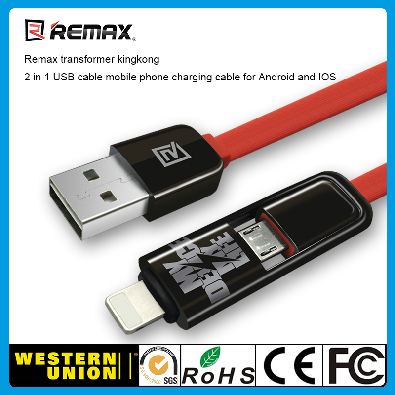 Remax transformer kingkong 2 in 1 usb cable for android and ios mobile phone