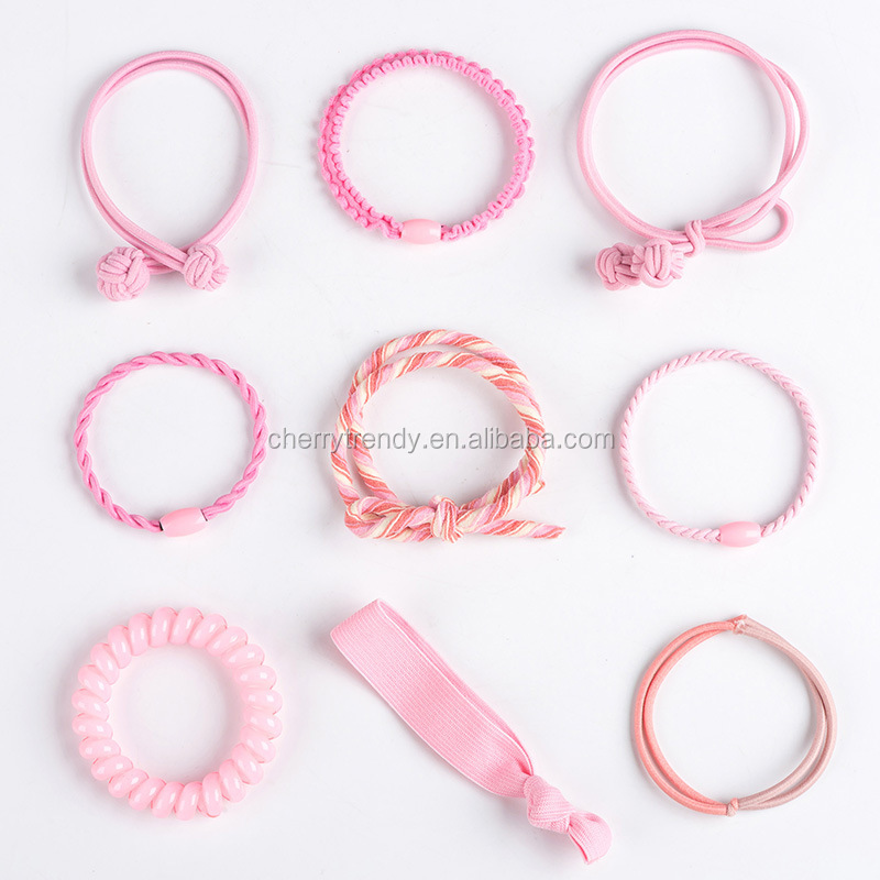 Candy Color Rubber Band Ponytail Holder Hair Accessories Elastic Hair Bands Set