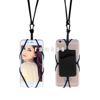 Hang Rope Cell Phone Silicone Rubber Case Necklace Lanyard Holder with Card Slot for iphone 6 plus 7