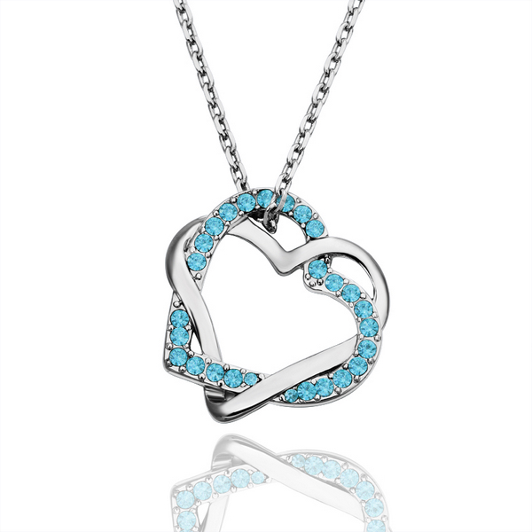 Fashion Double Heart Necklace Simple Crystal Necklace Wholesale for Women