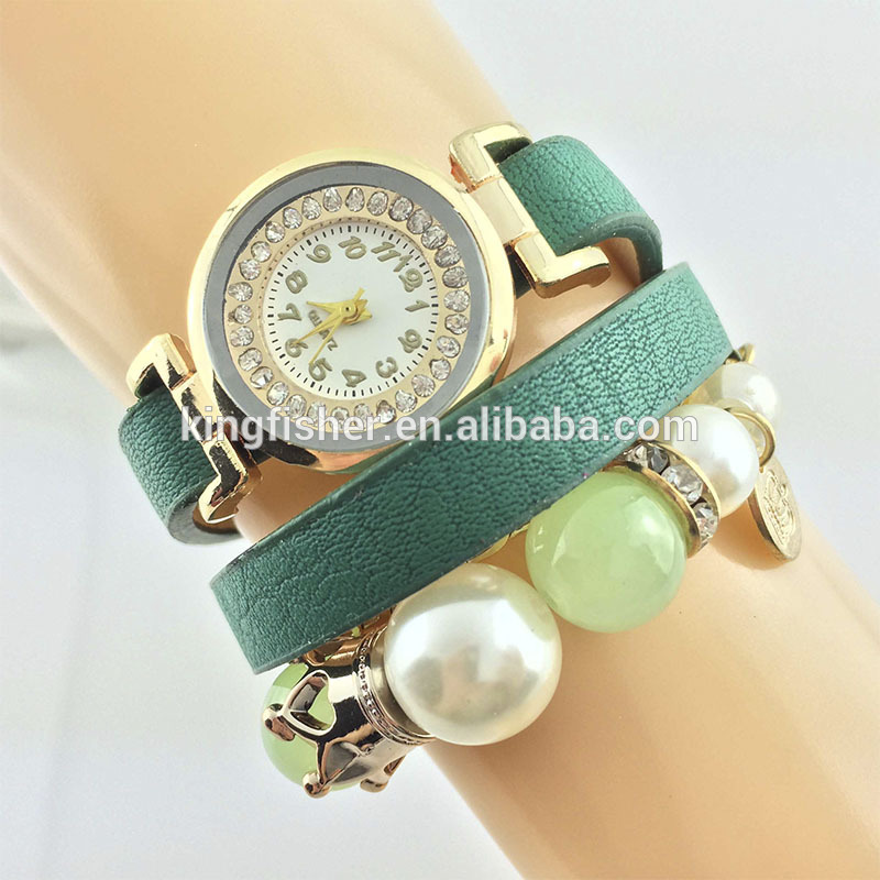Fashion pearl beaded chain leather lady wrist quartz movement vogue watch wholesales