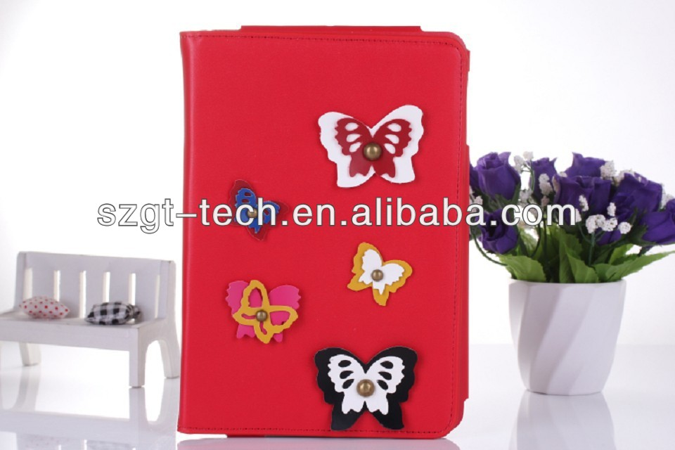 Nice leather flip case for ipad mini 2 with butterfly design