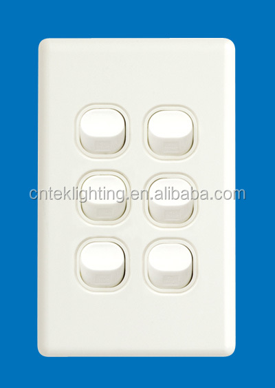 Australian Standard Slim Six Gang Wall Switch Vertical 16A