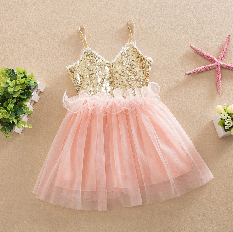 2017 wholesale Girls party dreess Baby Girls Lace Tutu Dress Girl Formal Sequin Skirt Summer suspender Fancy Dress