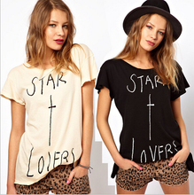 "EY0386A Europe and America Women printed ""STAR X LOVERS""Pure cotton pure color shirt"