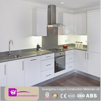 modular high gloss white lacquer design ready made kitchen cabinet with China top brand hinges