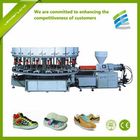 Two colors Rotary PVC TPR shoes direct injection moulding machinery