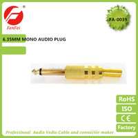 gold plated mono male audio plug 6.35mm connector from China