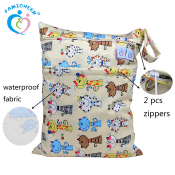 Washable Swim Suit Tiny 2 Zippers Diaper Wet Bag