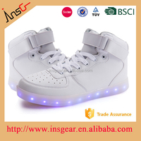 TPR outsole fashion white shoes led lights up for adults casual shoes