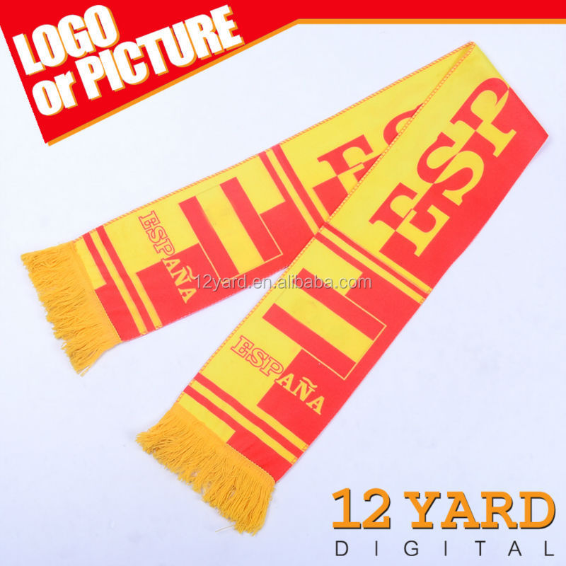 2016 promotion high quality Euro Cup gift football fans scarf with tassel