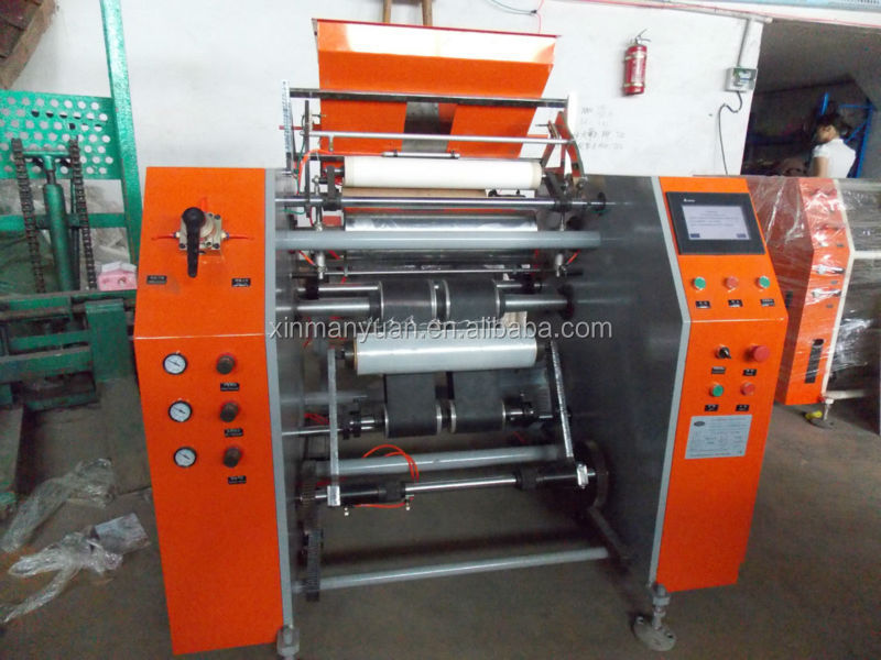 PE cling film slitting and rewinding machine