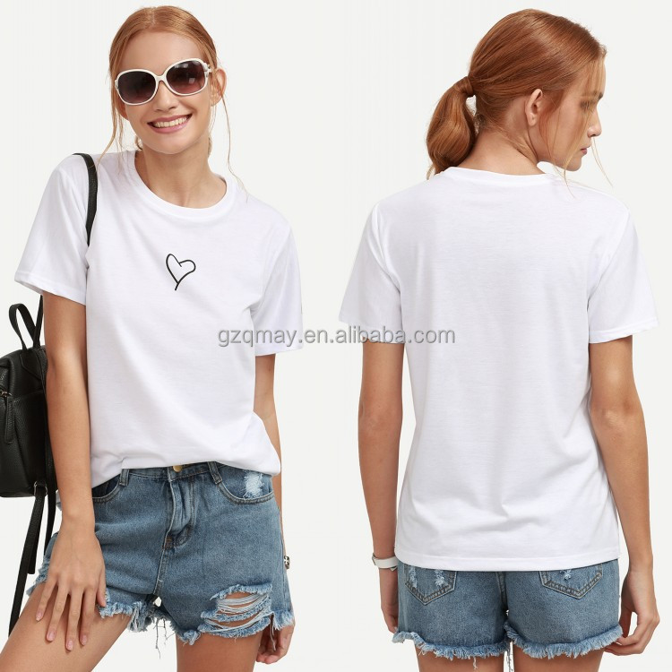 South Africa Simple Design Girls 1/4 Sleeves White Heart Print T-shirt,Cheap T shirt Printing Companys,T-shirt Private Label
