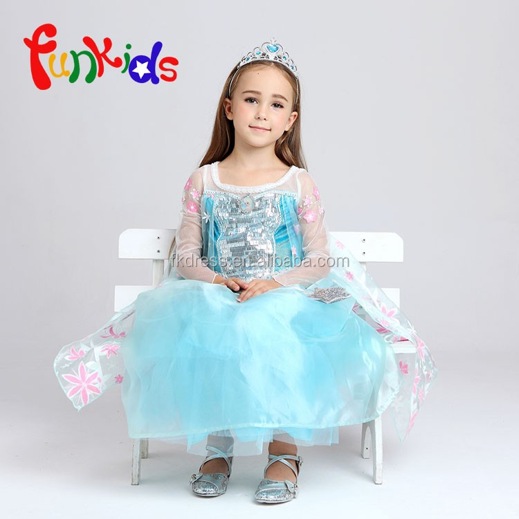 Wholesale Kids Costumes Party kids fancy Dress Elsa Pricess Child Costume