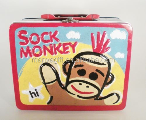 Sock Monkey Tin Lunch Box with handle & Lock