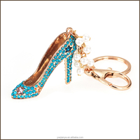 Custom 3d rhinestone metal high heel shoes shaped keychain,keyring,key chain for promotional gift