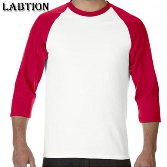 Wholesale cotton men 3/4 three-quarter sleeve t-shirt