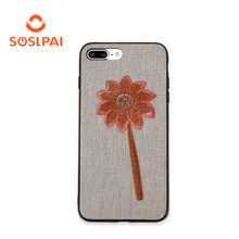 Hot selling tpu soft edge embroidery flower cell phone case for iphone 7 8
