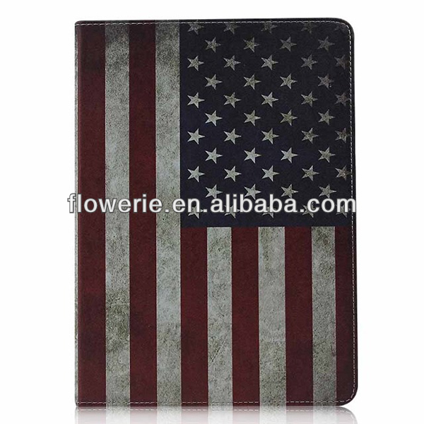FL3272 2013 Guangzhou hot selling retro usa flag wallet leather flip case for ipad air 5
