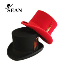 Wholesale Black and Red 100% Wool Felt Top Hat with Feather