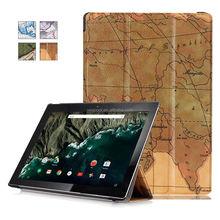 The Map Tri Fold PU Leather Tablet Case Cover For LG Google Pixel C 10.2 Inch