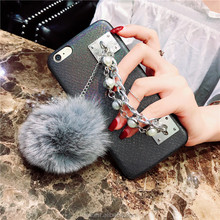 Metal Chain Bracelet Phone Leather Back Case for iPhone x 8 7 6 plus for Apple iPhone 8 Case Fur Ball