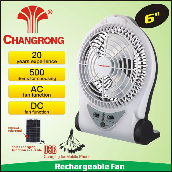 "6"" portable rechargeable solar power mini fan with led light battery"