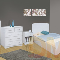 3 PCS Master Modern White Bedroom