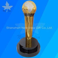 Metal Microphone Trophy With Gold Plated Perpetual Trophy Prize