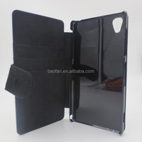 High quality sublimation card holder leather flip cover for sony Z1 L39H
