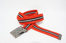 100% polyester webbing belt, colored stripes design, with iron automatic buckle