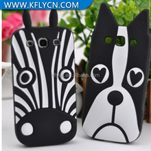 3d dog silicon case for galaxy s3,white and black animal dog silicon case