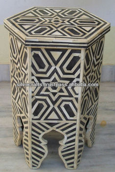 Moroccan Style Camel Bone Inlay Coffee & End Table furniture (Bone & Mother of Pearl Inlay Furniture from India)