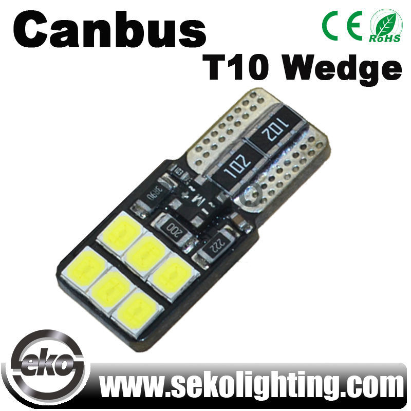 12v canbus car led replacement bulb, t10 w5w 194 196 12smd 2835 led