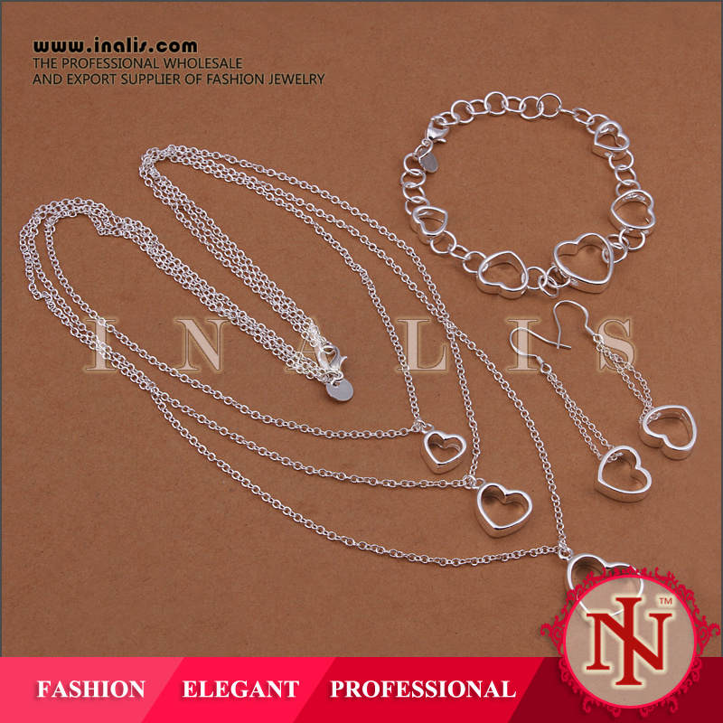 Hot fashion love heart pendant couples silver jewelry set