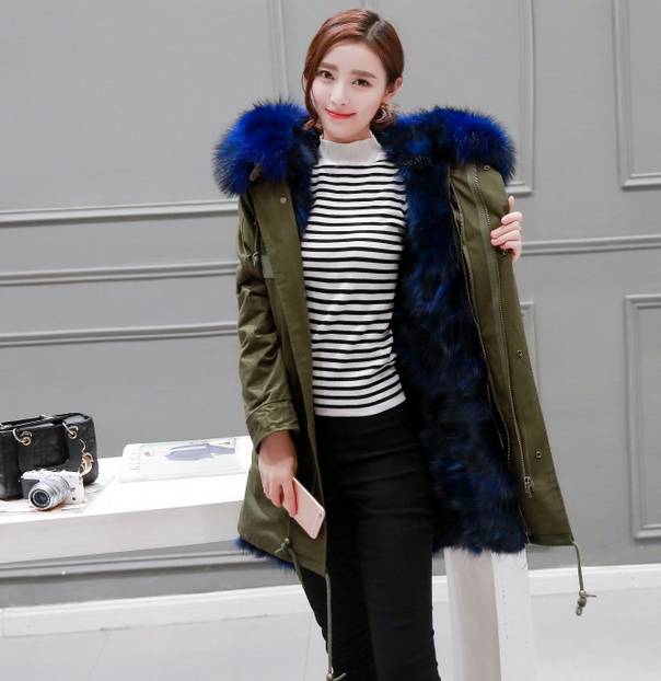 classic fashion long fur lined parka with raccoon fur hood