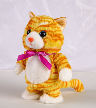Walking and talking back tabby cat stuffed mechanical plush toy