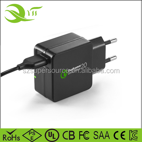 wall charger qc 2.0 travel charger usb 18W mini usb charger for Apple iPad iPhone Samsung Galaxy Google Nexus HTC