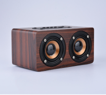Dual-horn Wooden Wireless <strong>Portable</strong> <strong>Speaker</strong> With Bass Music Sound Intelligent Calls Handsfree TF Card Aux Mode
